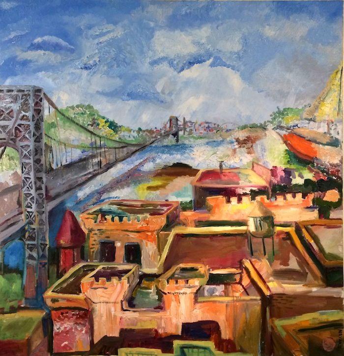 George Washington Bridge Hudson River Bridge Painting George Washington Bridge Hudson River