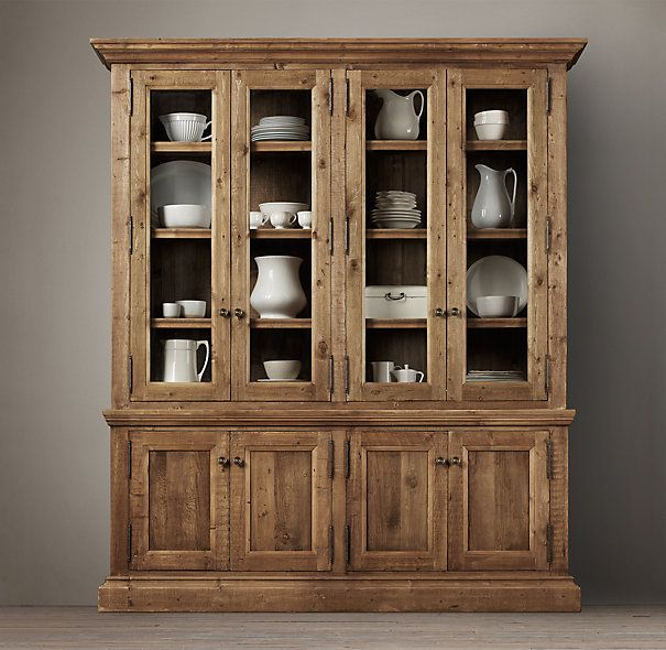 Salvaged Wood Wide Sideboard & Hutch - Stout pine timbers, reclaimed from  century-old - Salvaged Wood Wide Sideboard & Hutch - Stout Pine Timbers