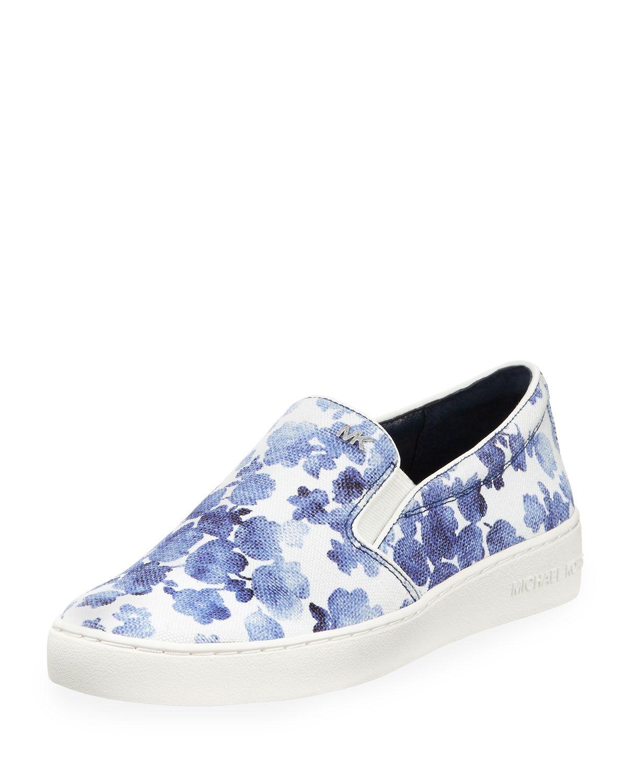 61071345cd88 MICHAEL Michael Kors Keaton Floral Slip-On Skate Sneaker, Blue, Size:  39.5B/9.5B