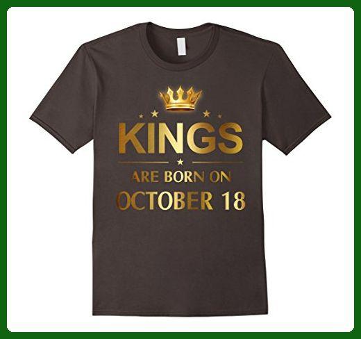 Mens Kings Are Born On October 18 - Birthday T-shirt Medium Asphalt -  Birthday