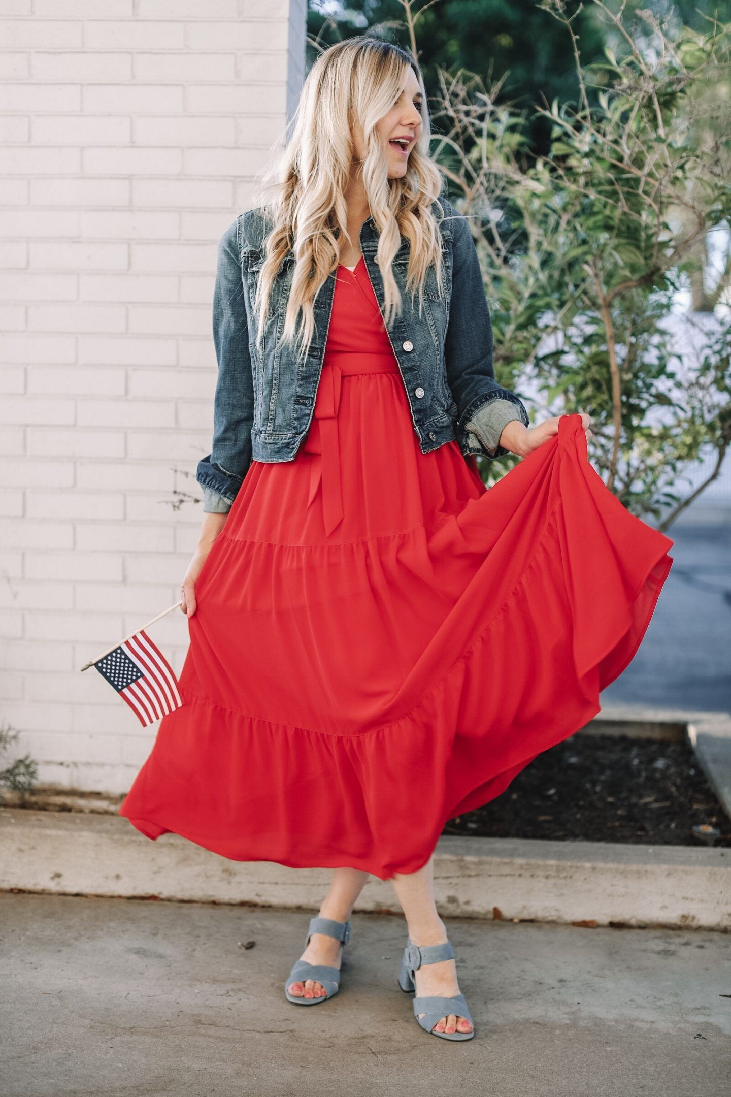 4th Of July Outfit Inspiration Part 4 Red Dress Red Maxi Dress Rachel Parcell Dress Denim Jacket Four Red Dress Casual Red Dress Maxi Outfit Inspirations [ 2160 x 1440 Pixel ]
