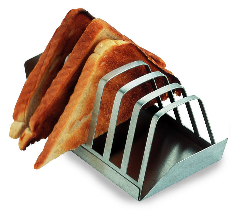 6 Piece Stainless Steel Toast Rack With Crumb Tray