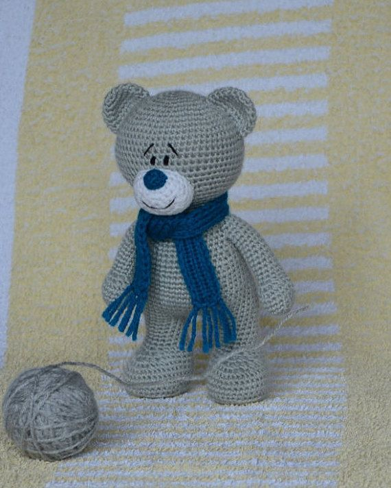 Bear crochet animal Amigurumi Plush teddy bear Stuffed knitted toy Crocheted animals #beartoy