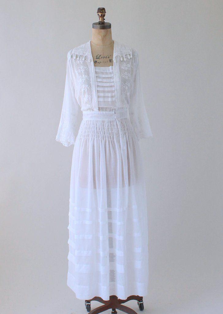Antique 1910s Sheer White Cotton Lawn Party Dress