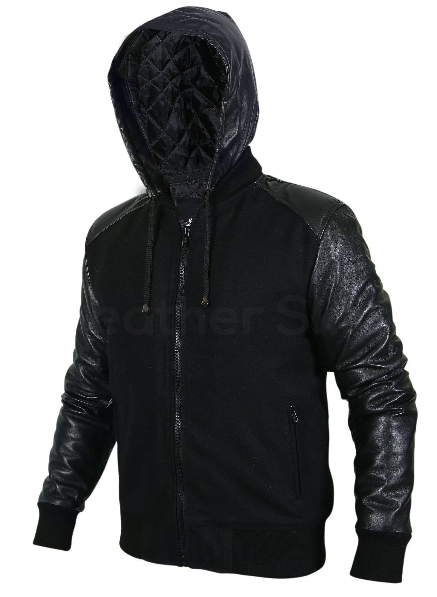 Men Black Hooded Jacket With Leather Sleeves Black Hooded Jacket Leather Jacket Black Leather Jacket With Hood [ 2000 x 1462 Pixel ]