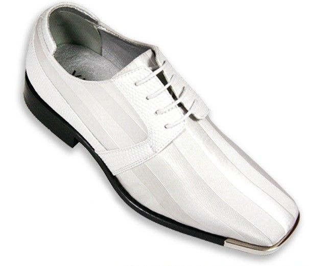 Men's Metal-Tip Satin Dress Shoes - White | Satin, Boxes and Dress ...