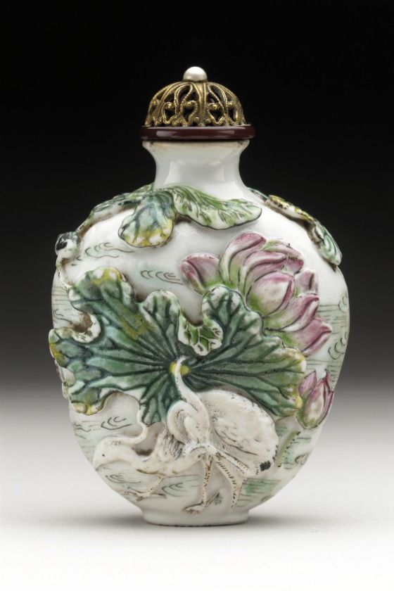 Snuff Bottle (Biyanhu) with Lotus and Water Birds - China, Jiajing mark and period, 1796-1820 - Molded soft-paste porcelain with overglaze enamels