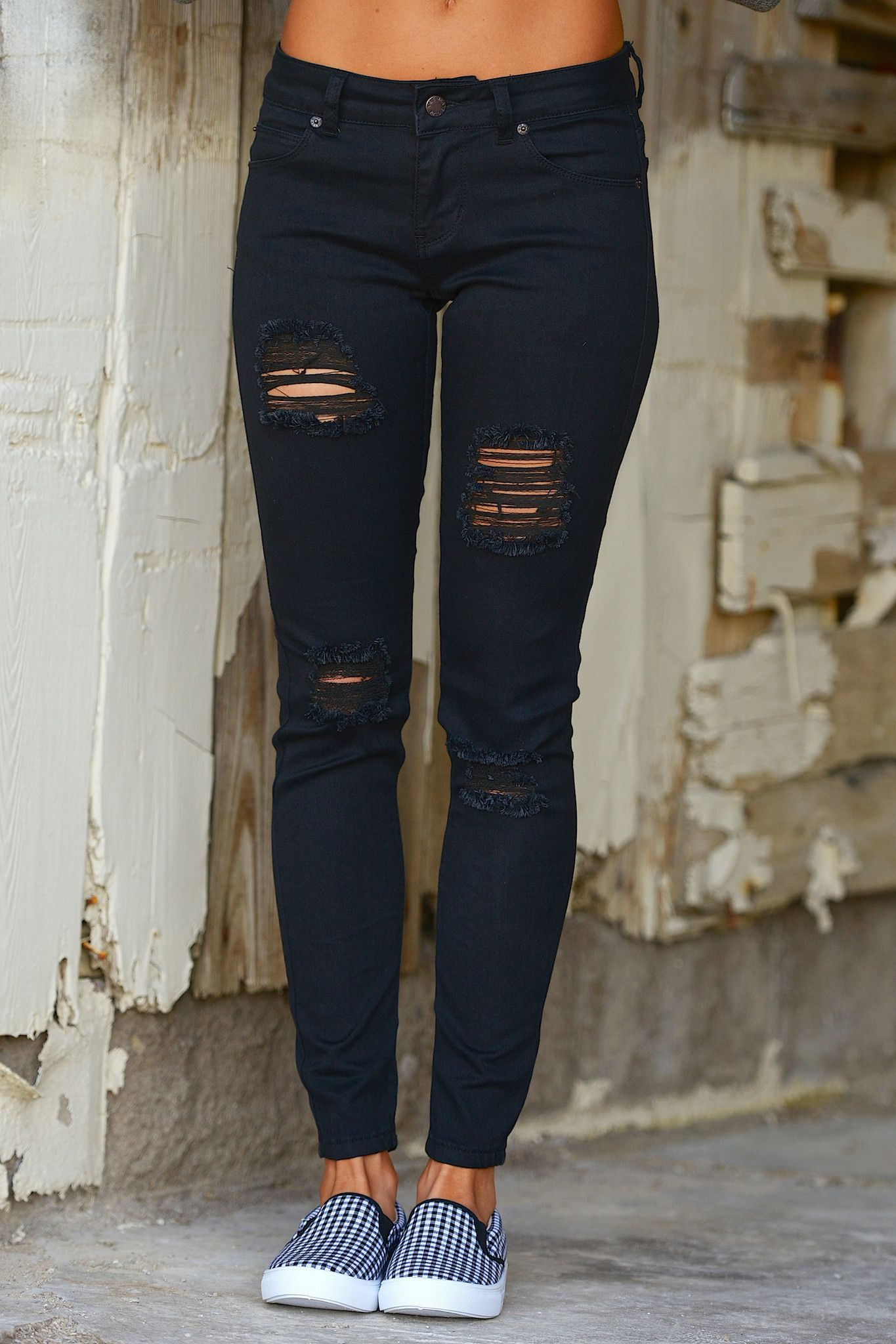 0e2470a6ee She s A Heartbreaker Destroyed Skinny Jeans - Black from Closet Candy  Boutique