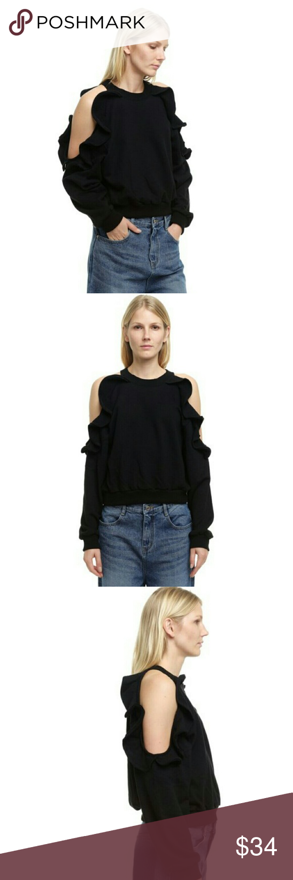 """Style Mafia Aris Frill Top - Black Style Mafia Aris Frill Top  *Size Small - Underarm to underarm : 19.5"""" flat / Shoulder to hem : 21"""" *Black Color  *Cold shoulder / Open shoulder with ruffle details around opening *100% Cotton - Machine Wash  *In great pre-loved condition with light signs of normal wear. No major flaws. *No trade Style Mafia Tops Sweatshirts & Hoodies"""