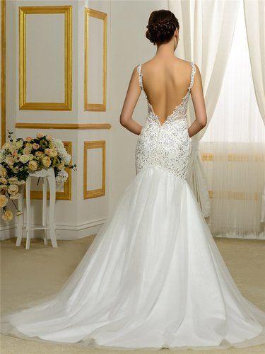 6862b96889  178.99 Bridess Women s Tulle Mermaid Wedding Dresses 2016 Floor-Length at  Amazon Women s Clothing store