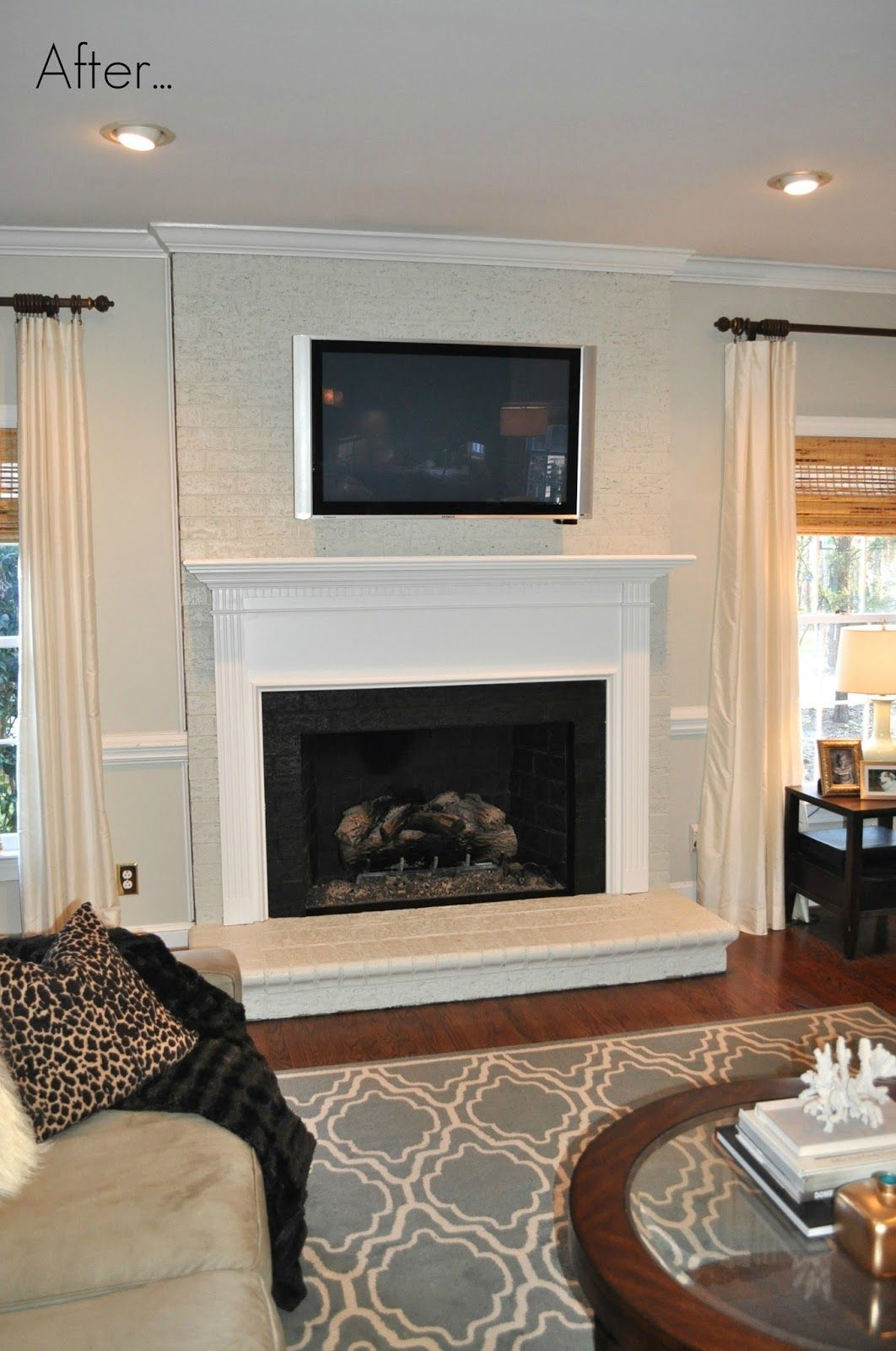 fabulous living room painted white brick wall   @Jess Liu Martin Finding Fabulous: Painted brick fireplace ...