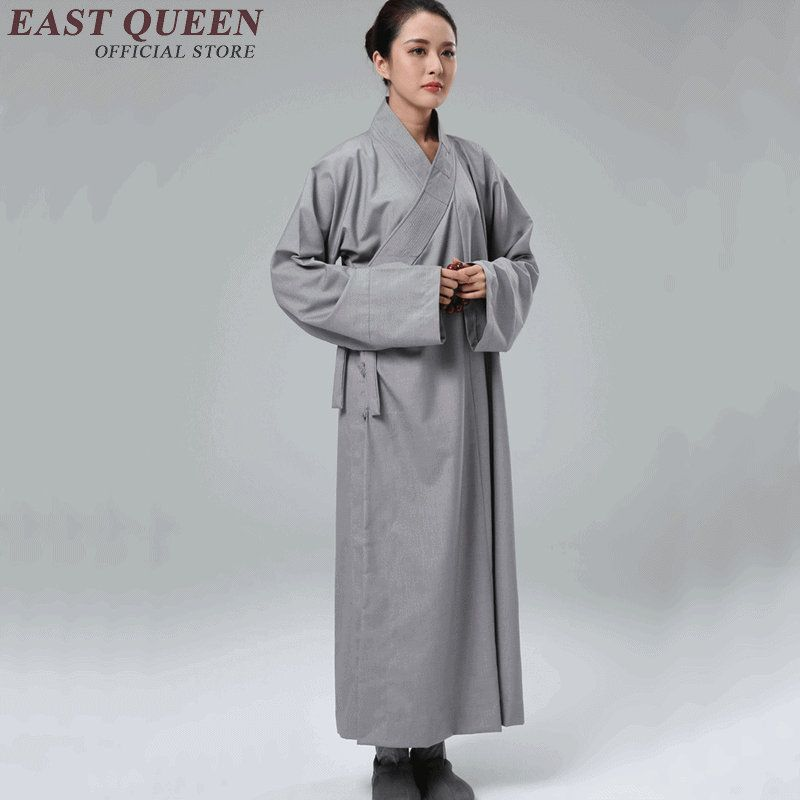 281c86aebf Female pure color buddhist monk robes Shaolin monk uniform for ...