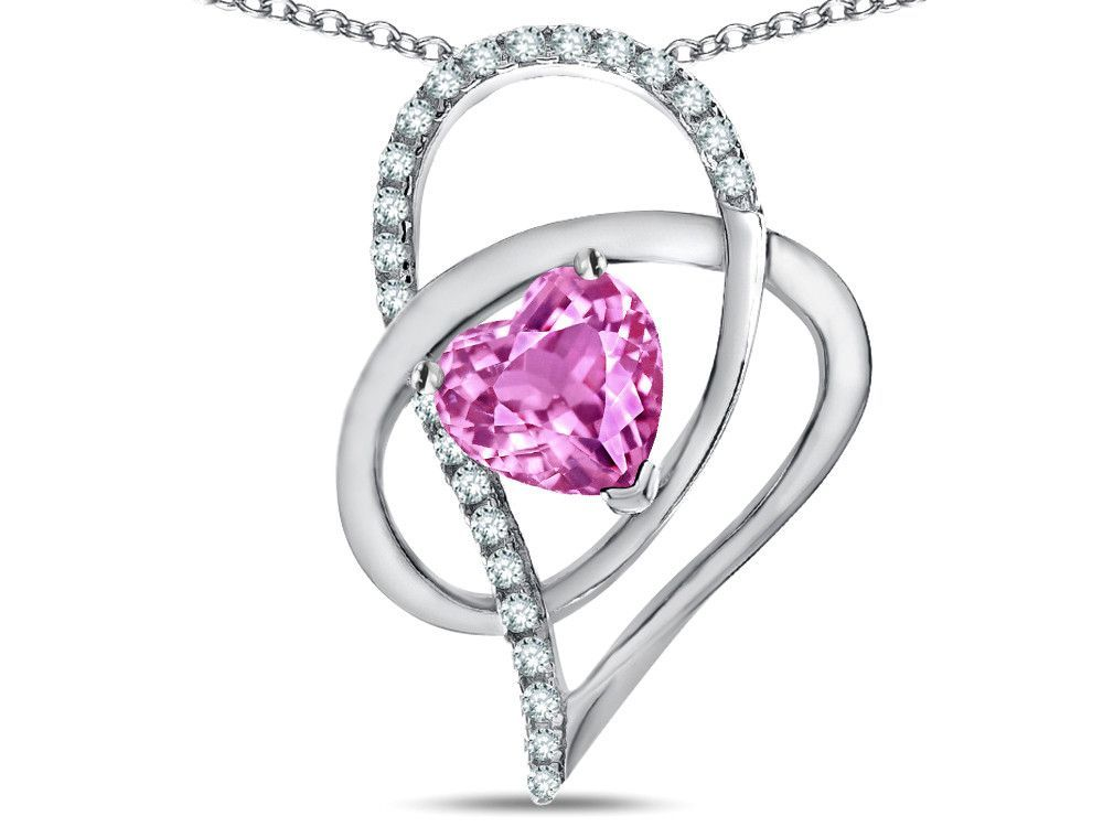 """Star K"""" Heart Full Of Love """" Created Pink Sapphire 7mm Heart Pendant Necklace"""