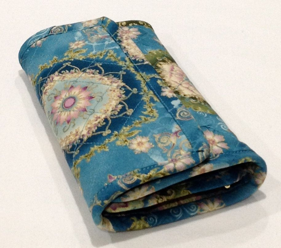 Blue teal womens wallet with gold gilt quilted floral