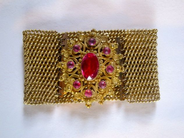 Victorian Gold Cuff with Pink Stones