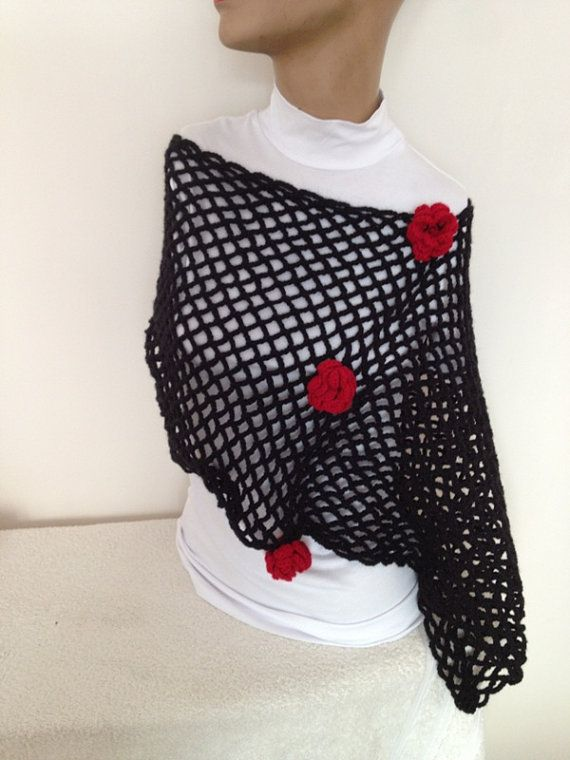 Black and red Hand crochet Lacy Shoulder Shrug Every by NesrinArt, $34.99