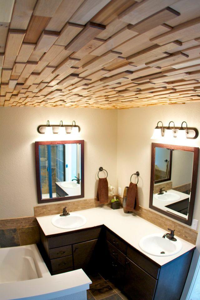 Reclaimed Barn Wood Tiles On Ceiling Haus