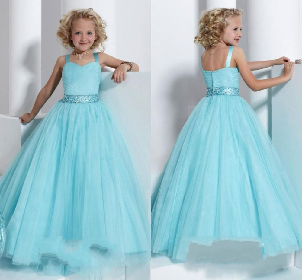 New Fashion Flower Girl Dresses Sky Blue With Crystal Dress for ...
