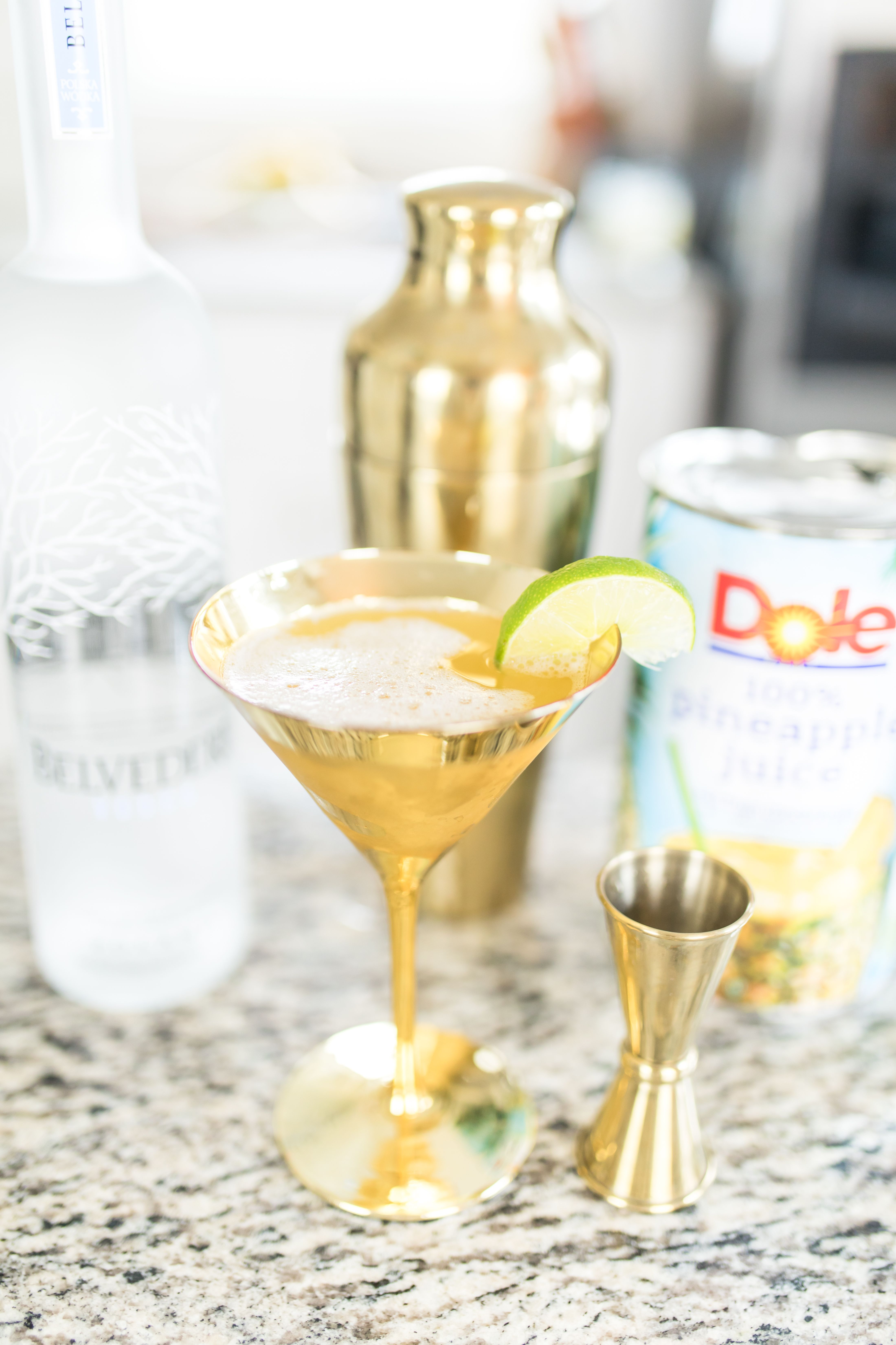 Summer pineapple martini cocktail recipe