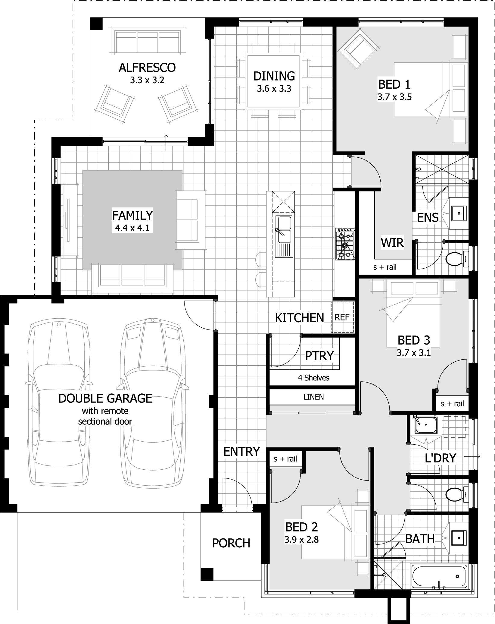 3 Bedroom House Floor Plan 3 Bedroomed House Designs Beautiful 3 Bedroom House Plans 35 In 2020 Bedroom House Plans Three Bedroom House Plan House Plans