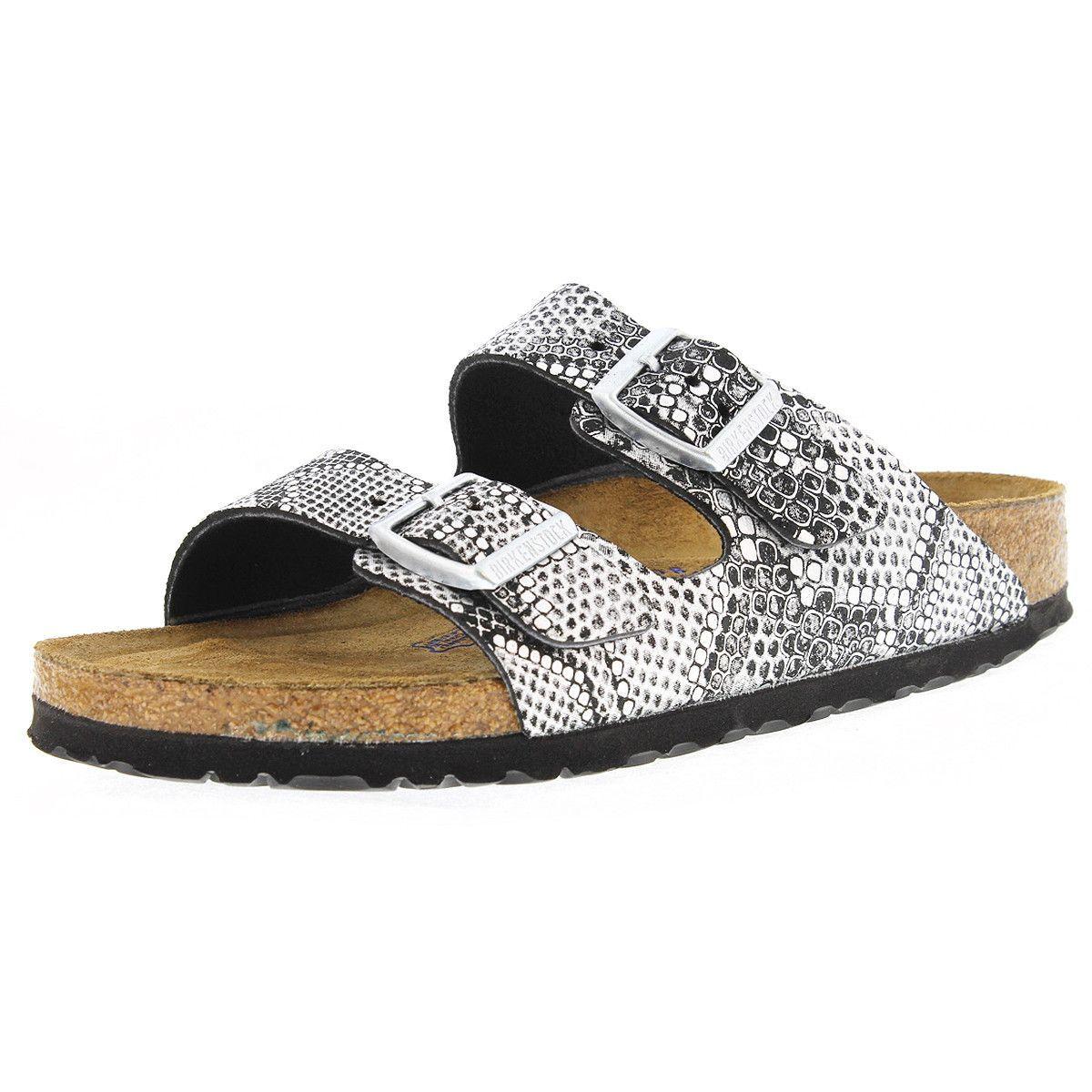 Birkenstock - Women s Arizona Soft Footbed Sandal - Python Silver ... 7bbfbd394c5