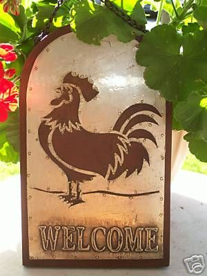 New Wood Amp Metal Rooster Garden Sign Welcome Decor Country