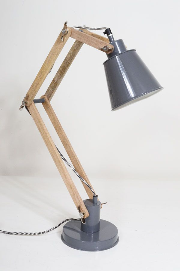 Two Arm Timber Wood Desk Lamp Small Desk Lamp Wood Desk Lamp