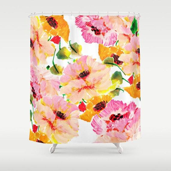 Pink And Orange Fl Shower Curtain Women S Bathroom Decor Poppy