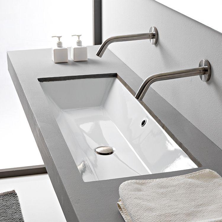 Rectangular White Ceramic Trough Undermount Sink Elegant