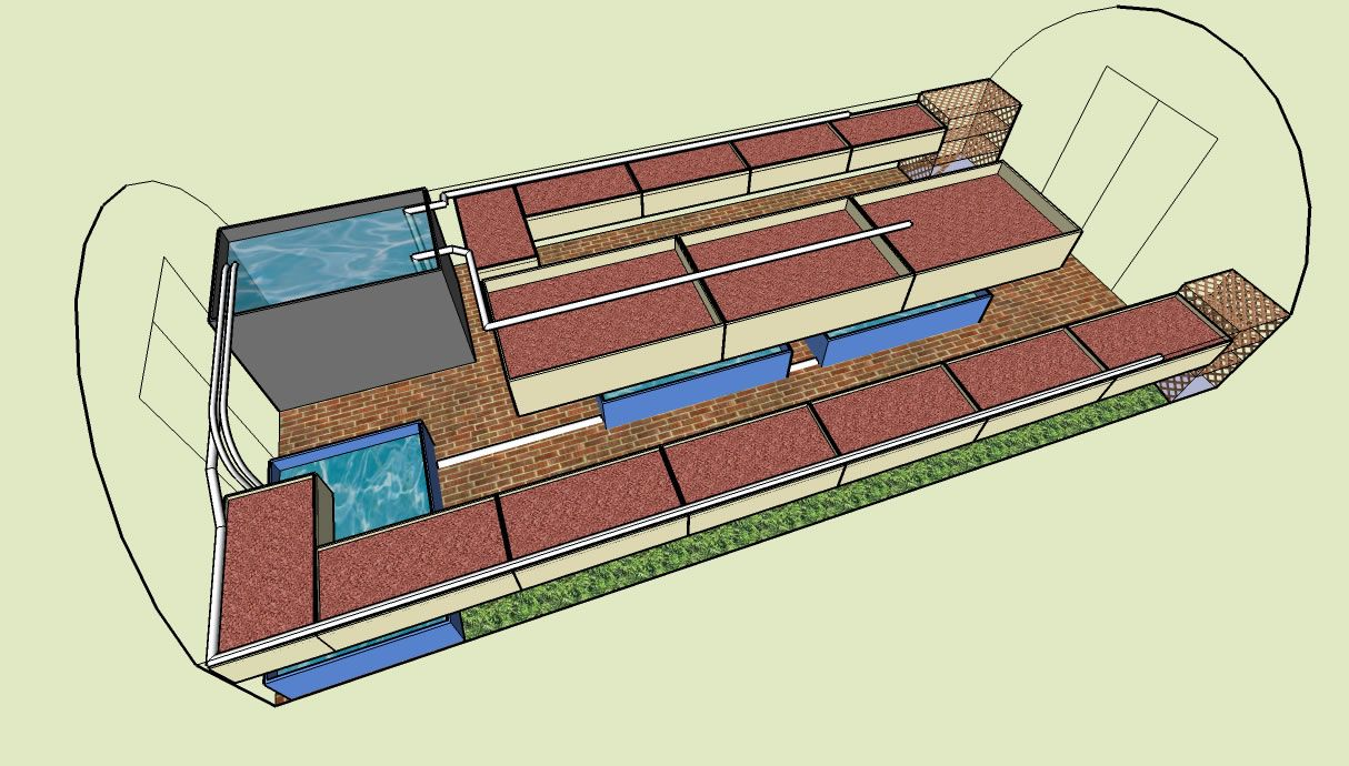 Aquaponics Garden Design outdoor aquaponic with pipes Aquaponics Greenhouse Design Really Like This Layout Would Make One Line Along The Wall Into