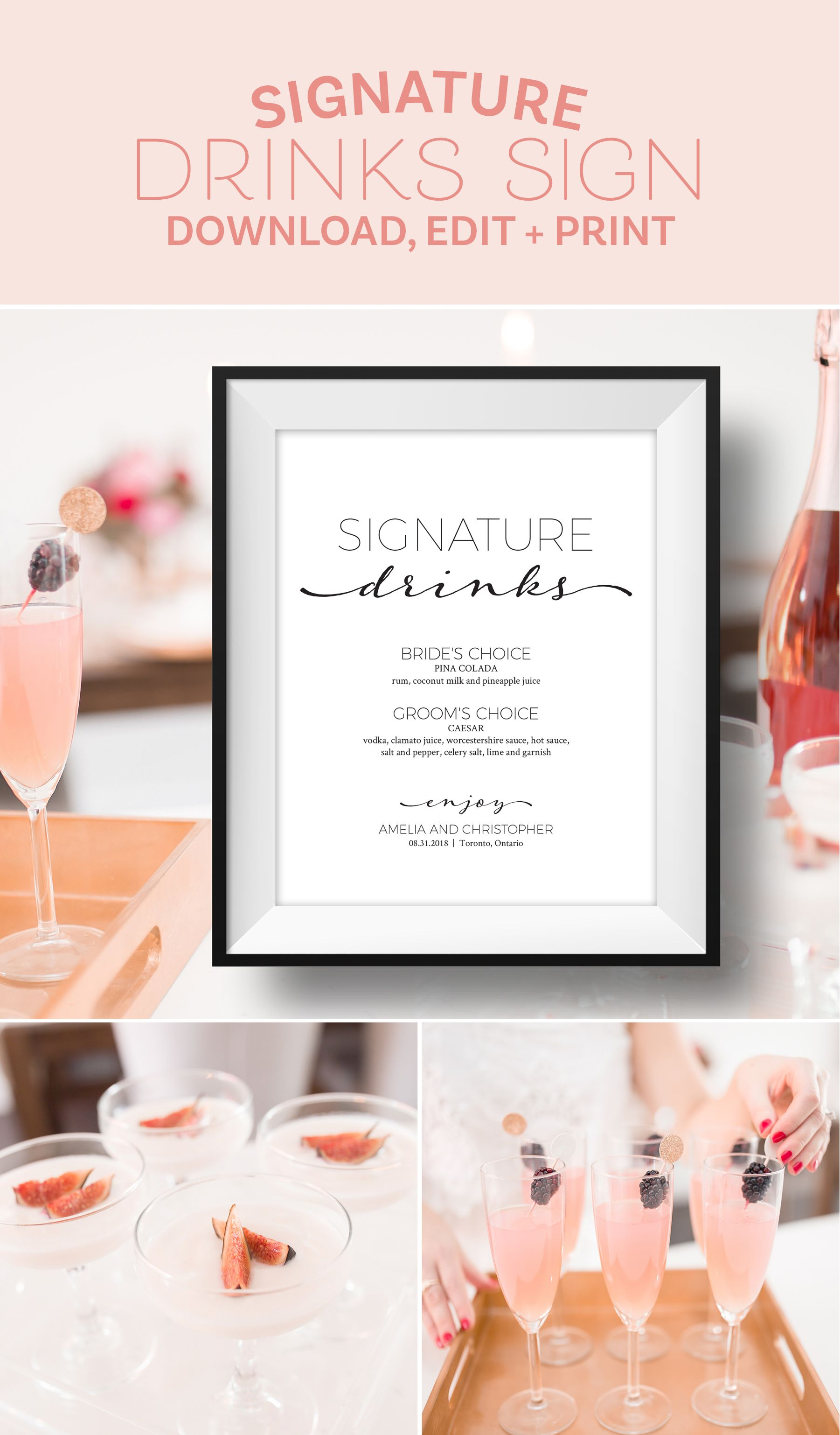 Signature Drinks Wedding Sign - Editable Template | All Things ...