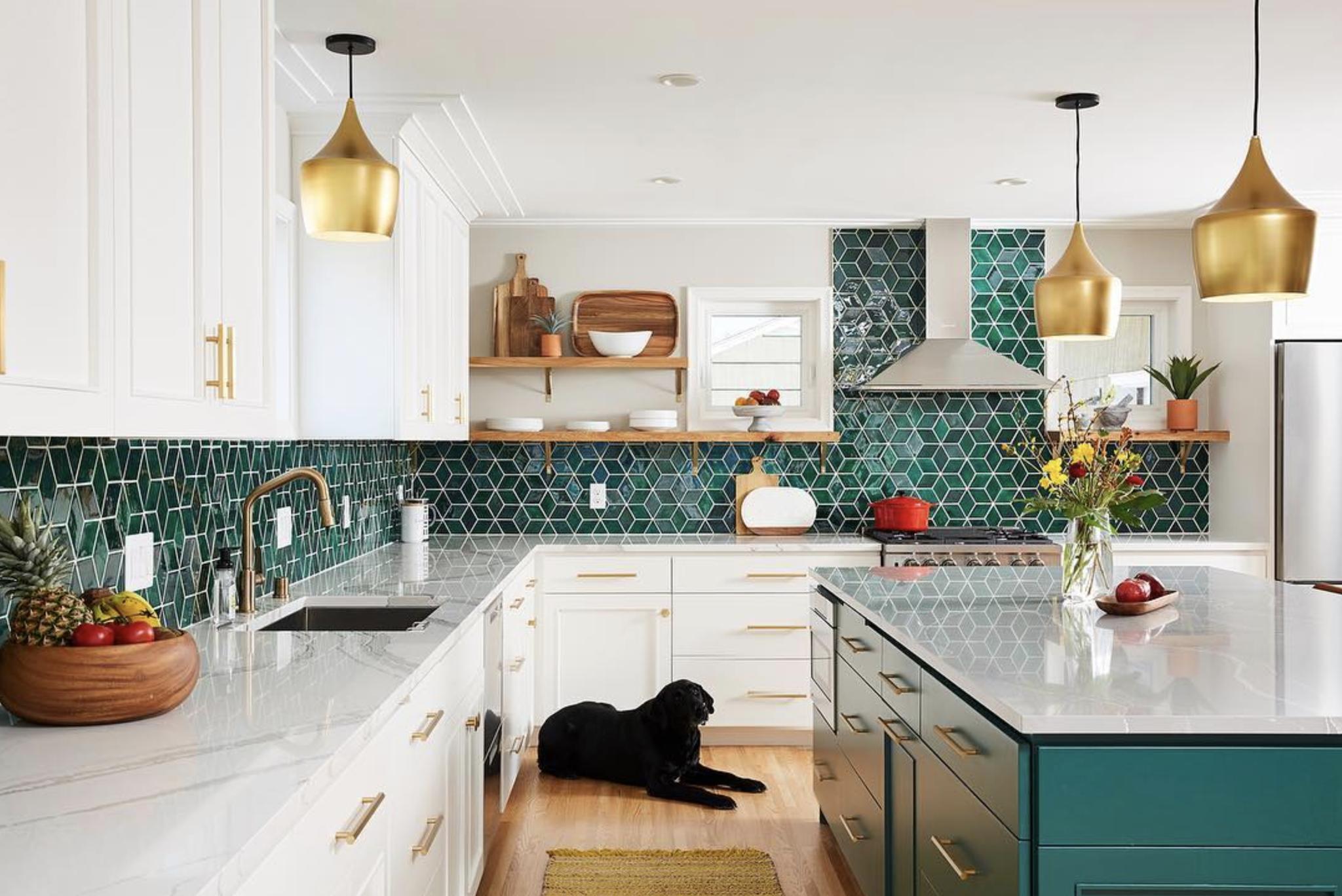- Dazzling Diamond Kitchen Backsplash Green Kitchen Backsplash