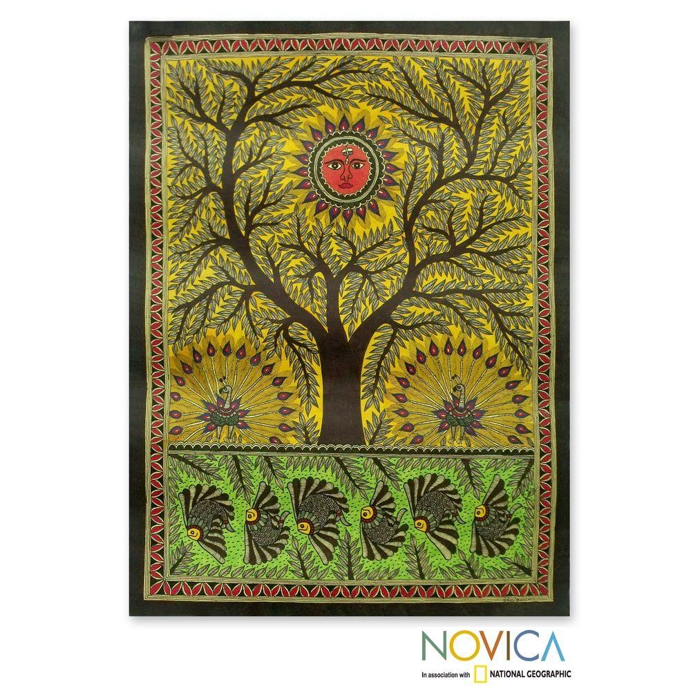 Handmade Tree of Life Multicolor Madhubani Original Artisan Signed ...