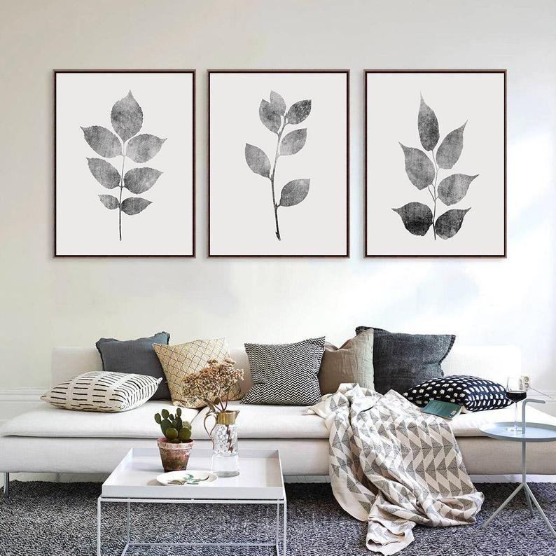 Living Room Wall Decor, Gray Wall Decor, Leaves Wall Art, Grey Prints, Plants Wall Art
