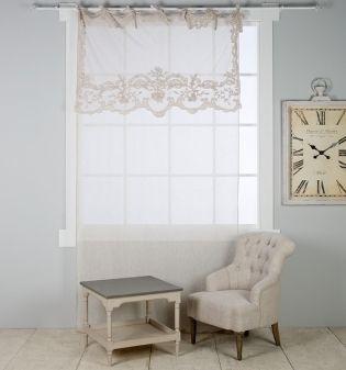 Rideau de charme shabby blanc mariclo brises bise - Decoration shabby en ligne ...