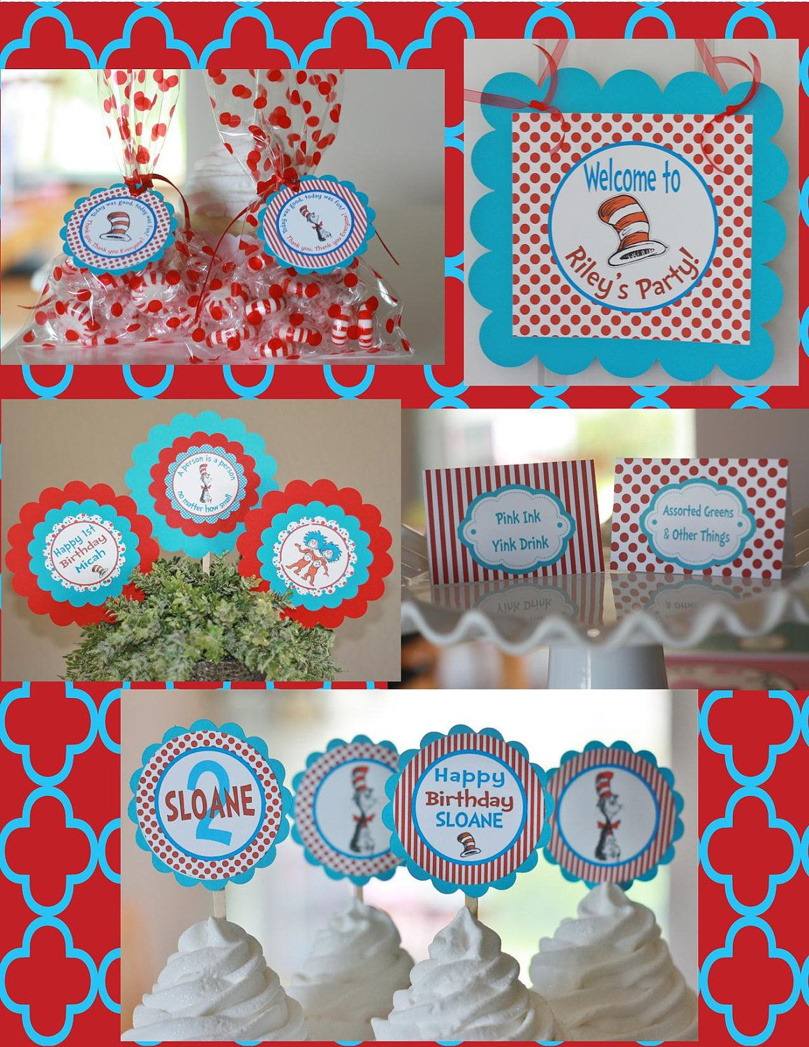 12 Dr Seuss Cat in the Hat Theme Birthday or Baby Shower