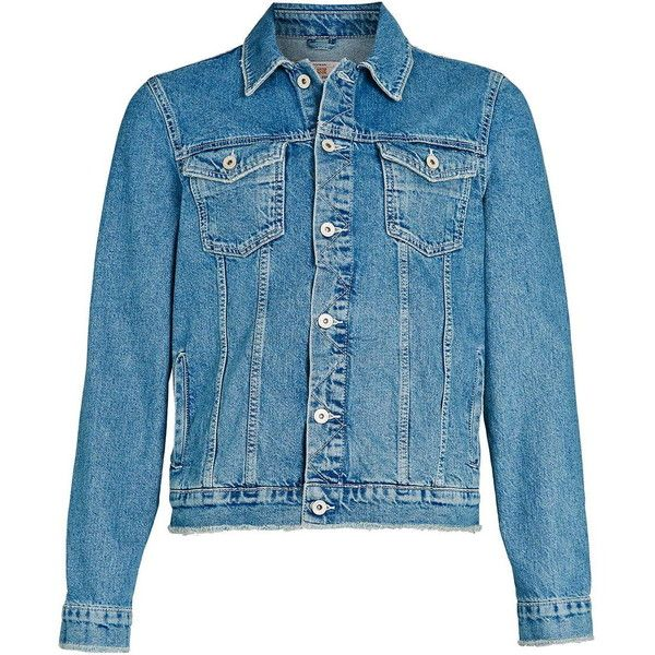 TOPMAN Light Wash Fray Denim Western Jacket (1.900 RUB) ❤ liked on Polyvore featuring men's fashion, men's clothing, men's outerwear, men's jackets, mens western jackets, mens blue jacket and mens denim jacket