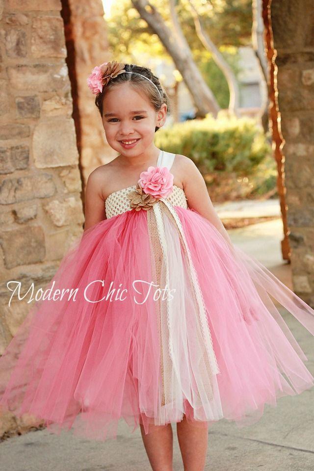 Burlap and Pearls Tutu Dress. Flower girl tutu | Adisten's Closet ...