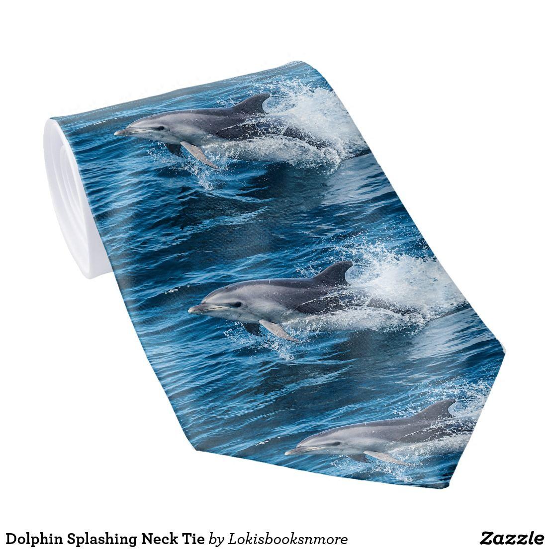 Dolphin splashing neck tie christmas gifts