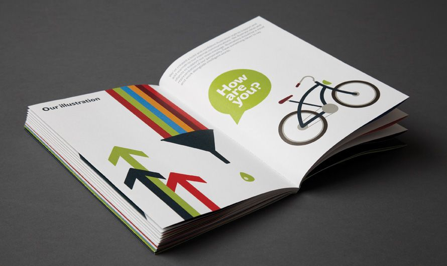 Ashfield brand guidelines french fold colourful print