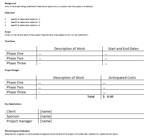 Project Proposal Plan Template For Project Managers  Project