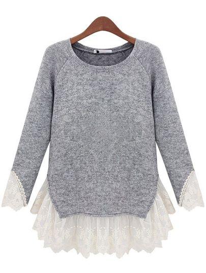 cbb00df7e4 Grey Long Sleeve Contrast Lace Knit Sweater