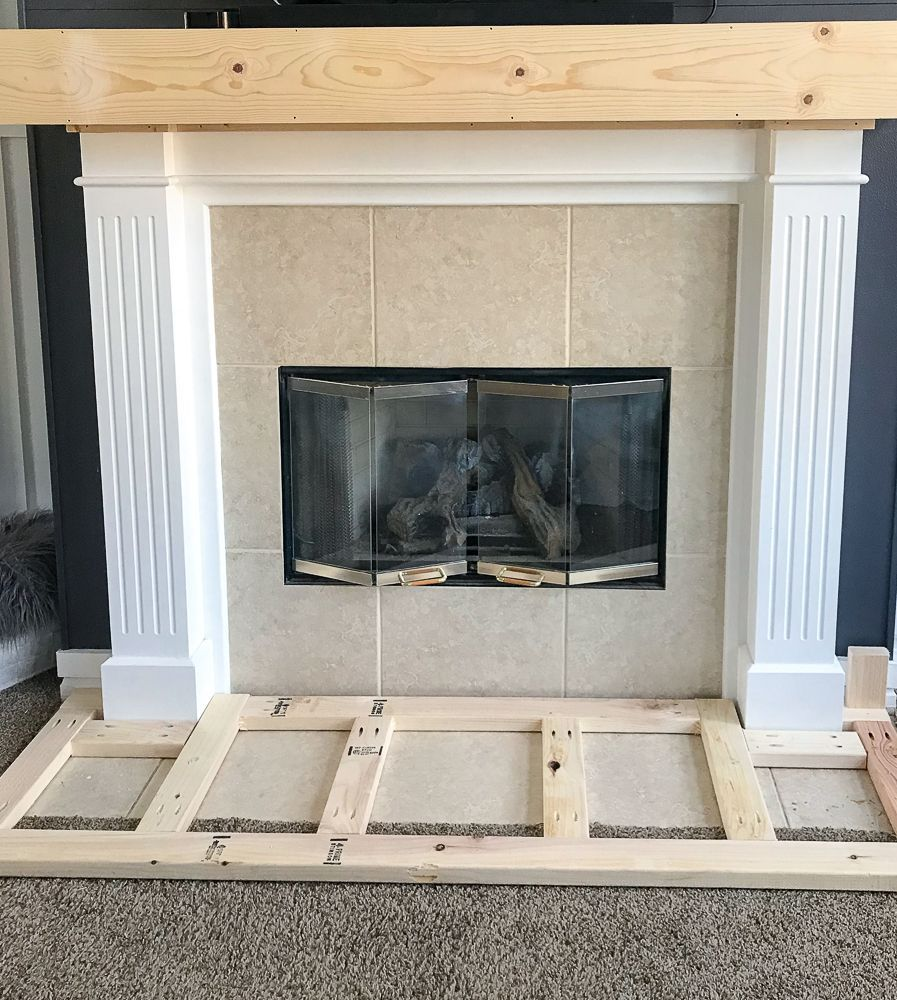 How To Build A Raised Fireplace Hearth Fireplacemakeoverdiy Build A Fireplace Diy Fireplace Fireplace Hearth