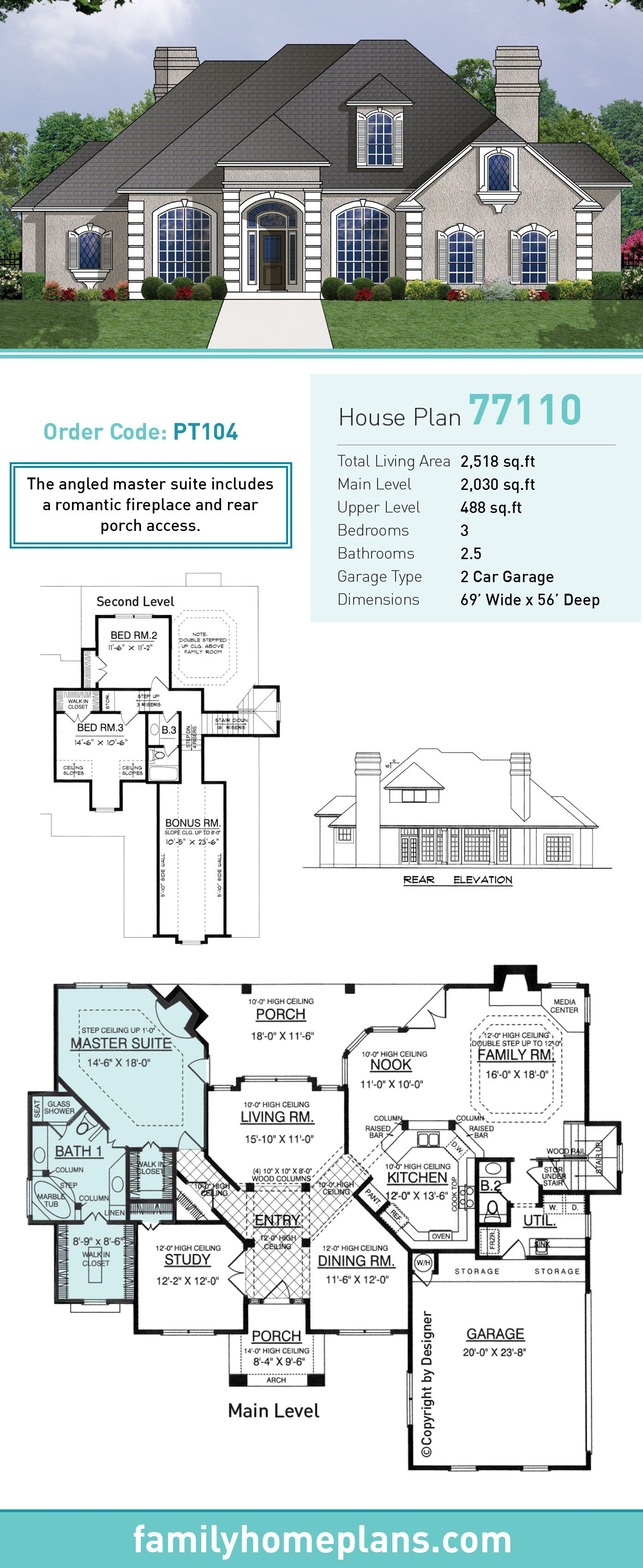European House Plan Total Living Area SQ FT - House designs with master bedroom at rear