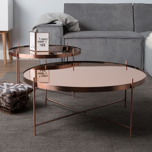 Table Basse Ronde En Metal Cuivre Cupid Zuiver 2 Tailles Decoclico Table Basse Table Basse Ronde Table Basse Salon
