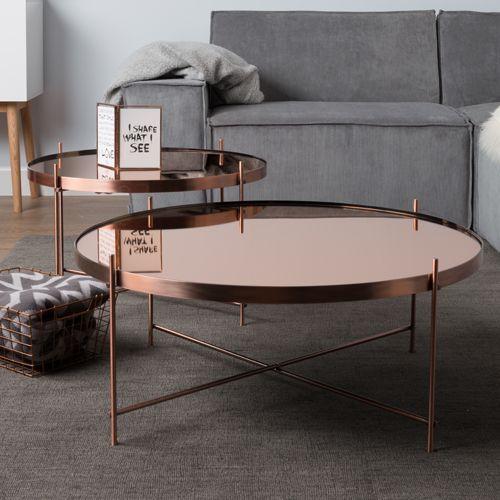 table basse ronde en metal cuivre cupid