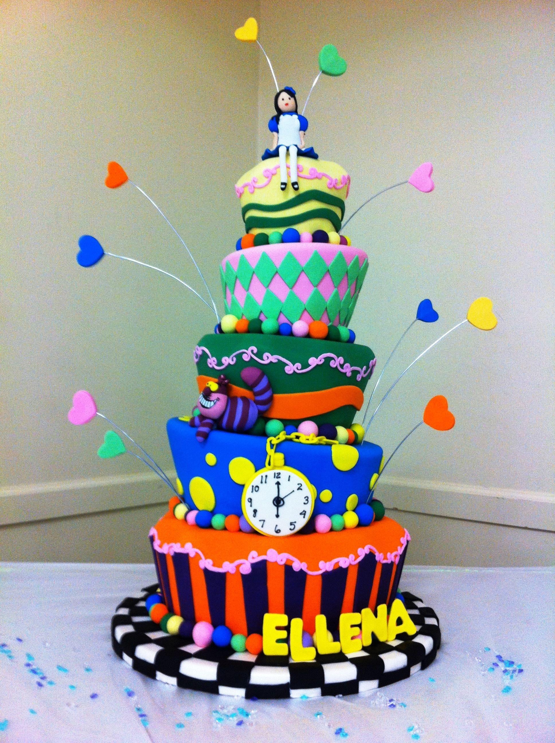 Astounding Alice In Wonderland Mirabella Grand Rapids Mi Amazing Cakes Personalised Birthday Cards Veneteletsinfo