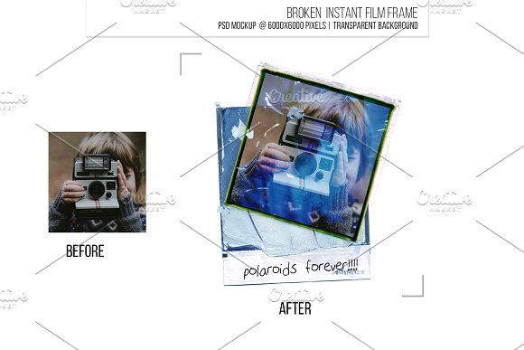 Instant Film Border Frame Template By Sweetmango On Creativemarket Polaroid Sbooking Photo Social Media Instagram Art Imperfect Retro