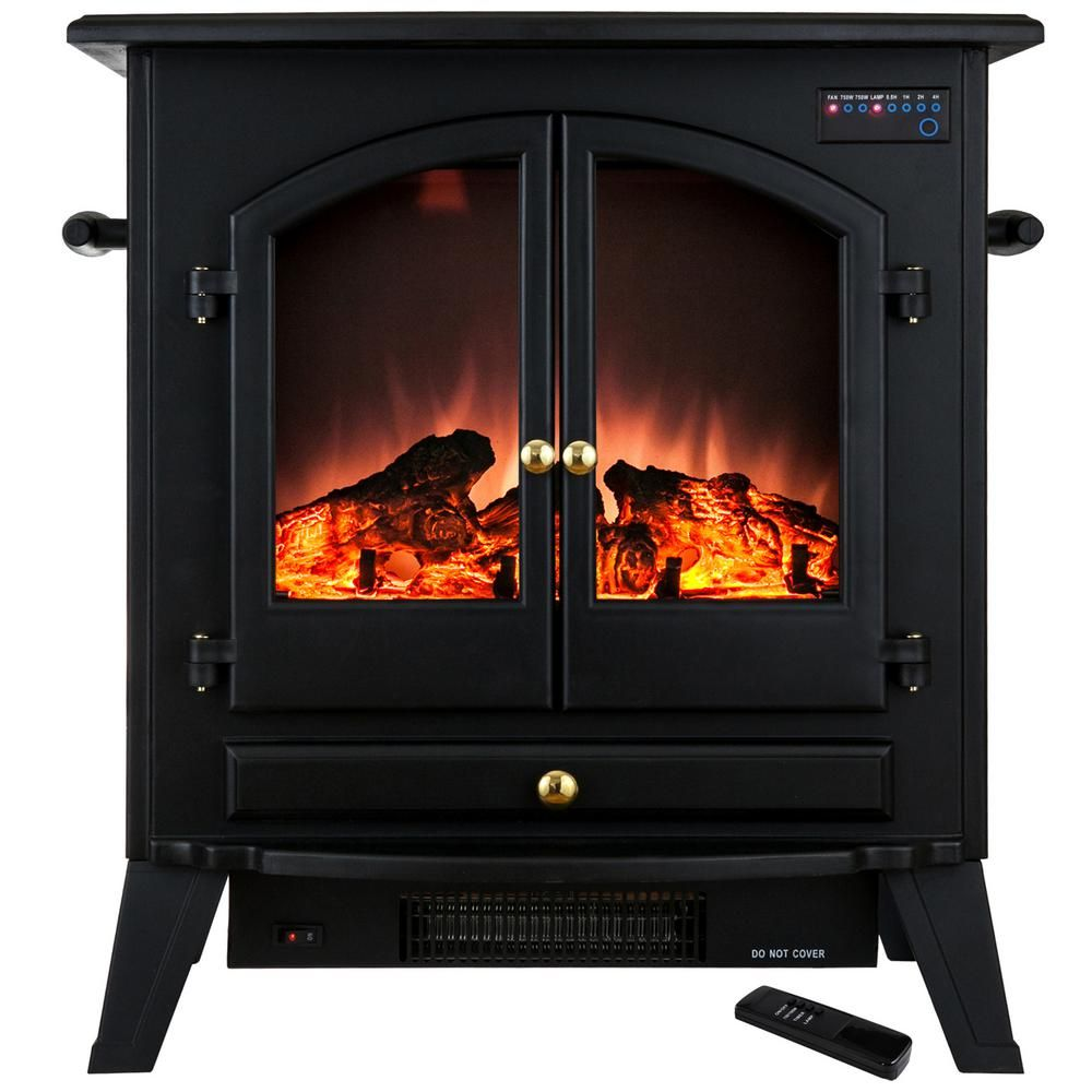 glass door for fireplace. Freestanding Electric Fireplace Stove Heater In Black With Vintage Glass Door And Remote For