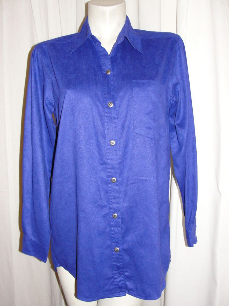 CHICOS DESIGN Size 1 Med Purple Faux Suede Shirt Top Blouse Moleskin Long Sleeve #Chicos #ButtonDownShirt #Casual